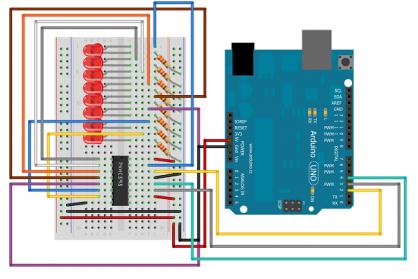 راه اندازی 8 عدد LED با استفاده از آیسی شیفت رجیستر 74HC595