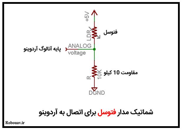 شماتیک مداری اتصال فتوسل به آردوینو