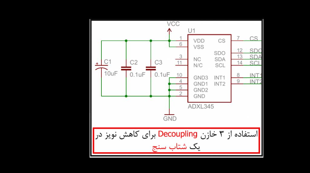 استفاده از خازن decoupling در یک شتاب سنج