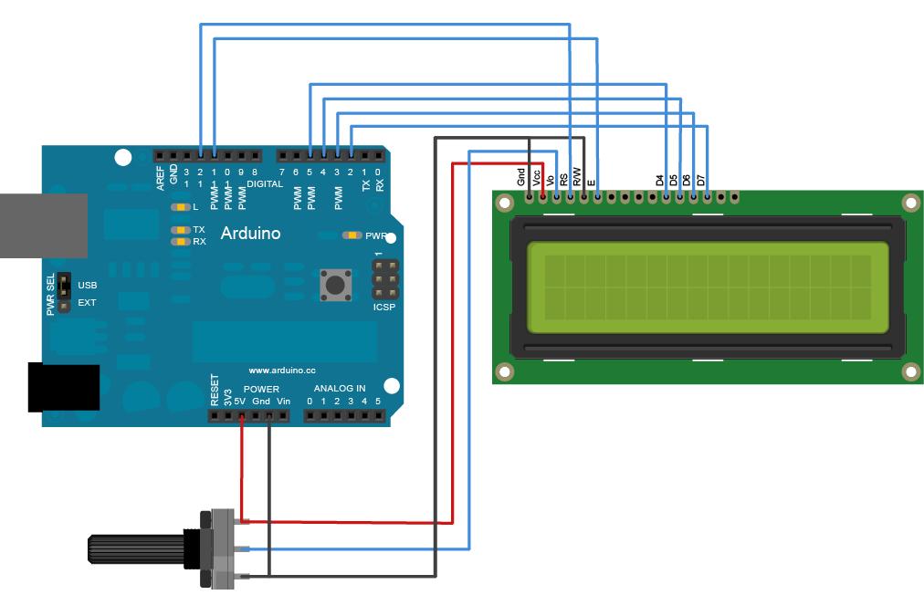 راه اندازی LCD کاراکتری با arduino