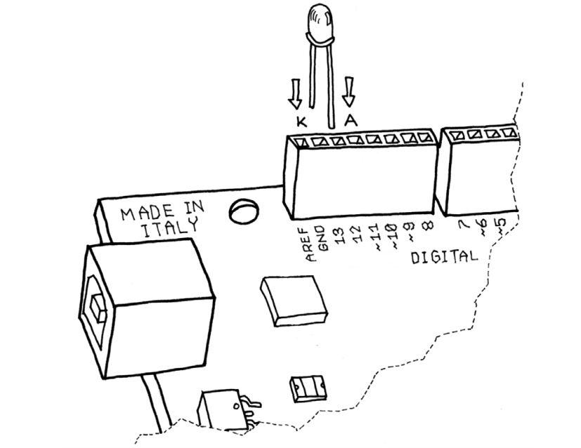 شروع کار با آردوینو- اتصال LED به برد آردوینو