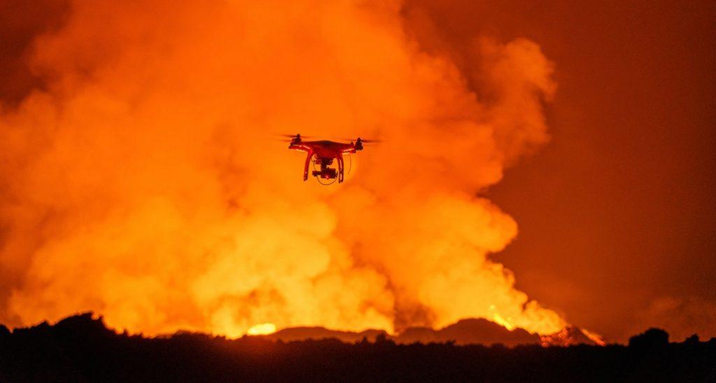 كاربرد كوادكوپتر در دهانه آتشفشان