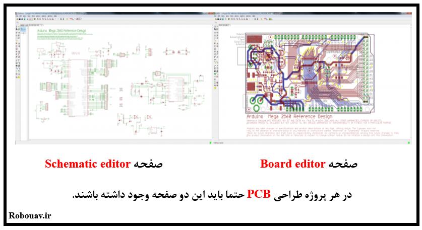 معرفی دو پنجره schematic editor و board editor در نرم افزار eagle