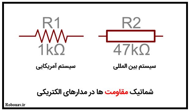 شماتیک مقاومت ها در مدارهای الکتریکی