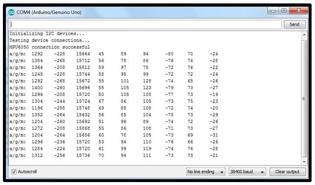 داده های خروجی MPU9150