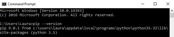 pip از قبل نصب شده است.